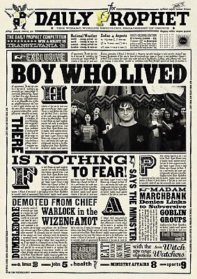 photo relating to Harry Potter Daily Prophet Printable named HARRY POTTER Day-to-day Prophet The Boy Who Lived Shiny Wall Artwork Poster Print