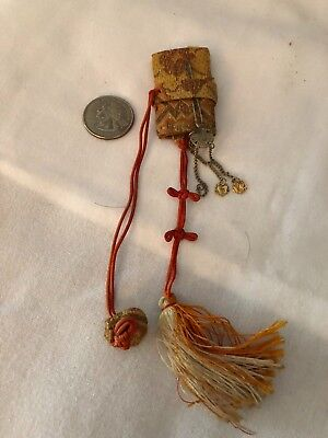 Antique vintage Japanese doll clothing accessory ichimatsu book purse hairpin