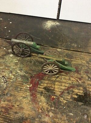 2 Vintage Miniature Metal Military Two Wheeled Cannons FREE SHIP