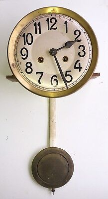 A 1930s Wall Clock Movement Dial Gong & Pendulum