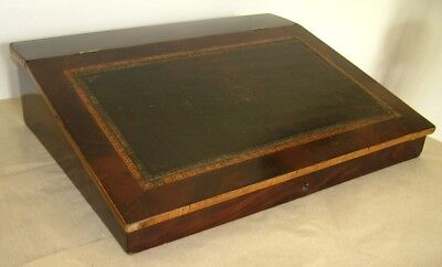 Charming VICTORIAN MAHOGANY VENEERED WRITING SLOPE with original leather
