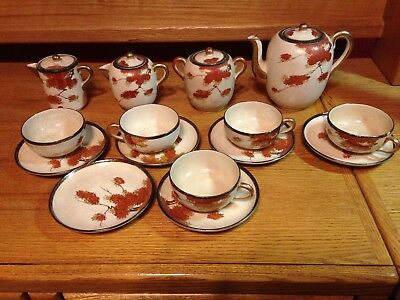 Beautiful Antique Japanese  Satsuma Meiji Teapot And Cups And Saucers