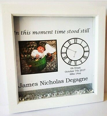 Personalised New Born Baby Gift Birthday Box Picture Frame Childs Name clock