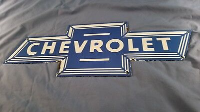 Vintage Chevrolet Automobile Porcelain Gas Motor Service Station Pump Plate Sign