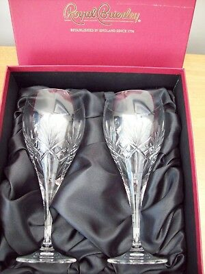 2 X Royal Brierley Crystal ' Berkeley  ' Large Wine Glasses / Goblets Boxed!