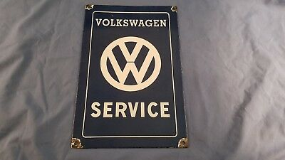 Vintage Vw Volkswagen Porcelain Gas Automobile Dealership Service Pump Sign