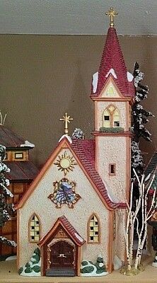 Dept 56 Merry Christmas Church Alpine Village Includes Manger and Crosses RARE!