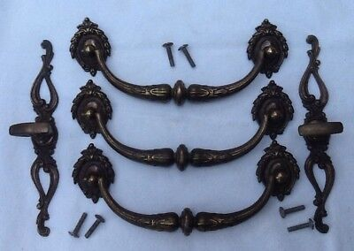 3 Vintage Large Ornate Cast Metal Drawer Handles & 2 Knobs With Back Plates