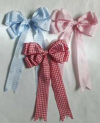 "Large 10cm, 4"" Double Gingham Bow In Red Blue or White Packs of 2, 5 or 10"
