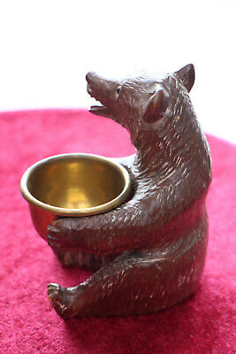 Black Forest Carved Wooden Bear with Brass Bowl