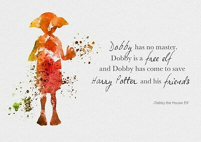 Harry Potter Dobby Quote Glossy Watercolour Wall Art Poster Print A3, A4, A5