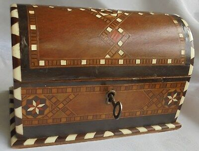 Antique or Vintage inlaid Wooden Box or chest with key.