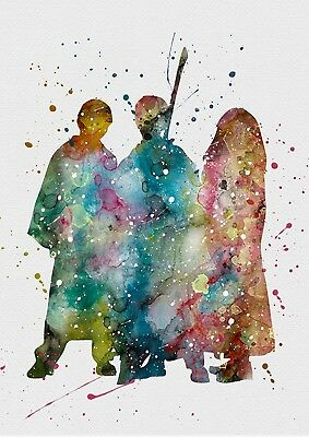 Harry Potter Harry Ron Hermione Watercolour Wall Art Poster Print A2, A3, A4, A5