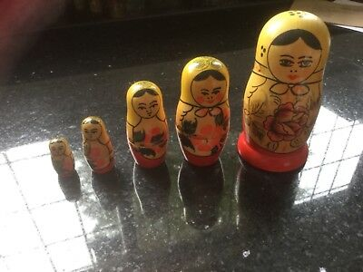 Vintage Russian USSR Hand Painted Wooden Nesting Dolls Set of 5 vgc