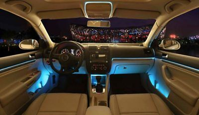 Bluetooth Car Ambient Light LED Light Interior Kit Optical fiber Door Light NEW*