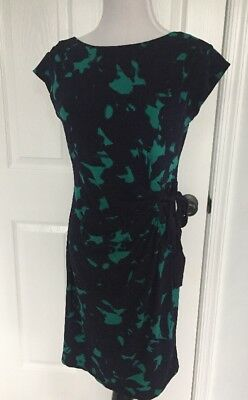 Taylor A Pea in the Pod Side Tie Maternity Dress Small Navy & Green Career