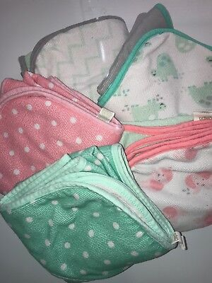 Lot of 5 Hooded Baby Towels Pink And Green