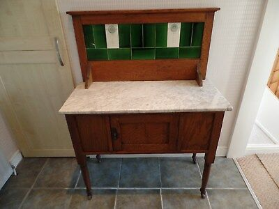 Edwardian Oak Washstand With Marble Top (Le65)