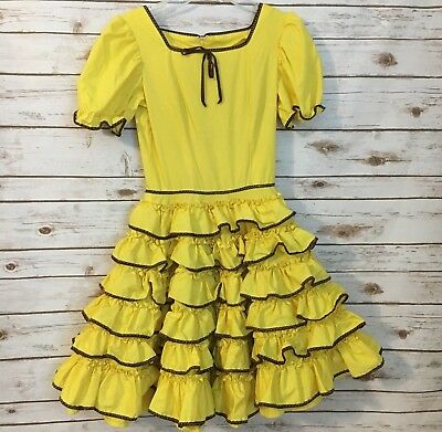 Vintage Custom Designed Yellow Ruffled Brown Trim SQUARE DANCE DRESS  see notes