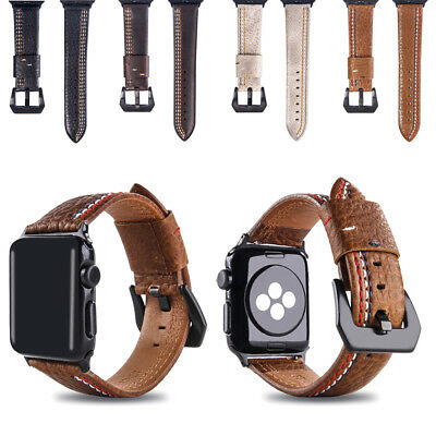 38/42mm Retro Genuine Leather iWatch Band Men Casual Strap for Apple Watch 1 2 3