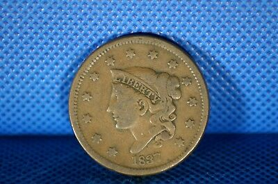 1837 Large Cent Coronet Head US Coin
