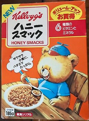 Kellogg's 1988 Honey Bear Japanese Honey Smacks unopened Cereal Box NIB