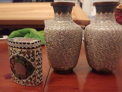CHINESE CLOISONNE 2x MINIATURE VASES with Matchbox