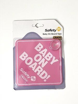Safety 1st Pink Baby On Board Sign Window Suction Hook Girl Car Signs