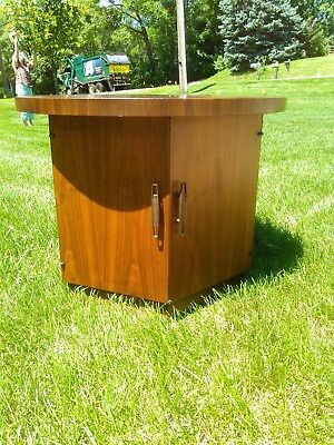 Vintage LANE HEXAGON SIDE TABLE record storage mid century modern danish end 60s