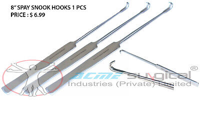 """20 Spay Snook Hook 8"""" Veterinary Surgical Instruments Stainless Steel Ce Iso"""