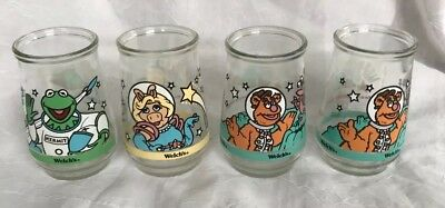 MUPPETS IN SPACE Welch's Jelly Jar Glasses - Set of 4 (#1, #2, #3-two)