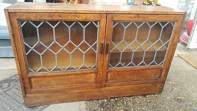 Antique Lead Glass Fronted Bookcase