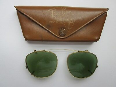 Vintage Ray Ban Clip On Sunglasses with Original Case Lenses 46 mm