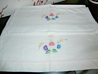 PAIR of VINTAGE WHITE PURE COTTON ~ FLORAL EMBROIDERY PILLOW CASES