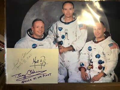 Apollo 11 Signed Autographed Cut W/ Photo Neil Armstrong Buzz Aldrin Astronauts