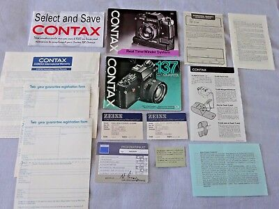 Contax 137 Camera and RTS Winder instructions, 1996 Price List plus more