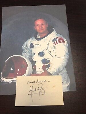 Neil Armstrong Apollo 11 Signed Autographed Cut W/ Photo Astronauts