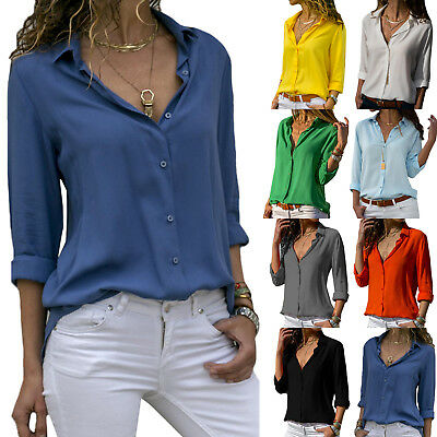 Women Long Sleeve Blouse Ladies V Neck Office OL Work Loose Tops Shirt Size 8-18
