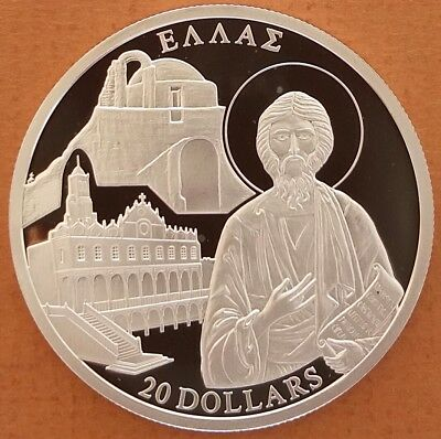 """Liberia 2001 # 20 Dollars """" Greece History """"  Large Silver Coin Proof  RARE"""