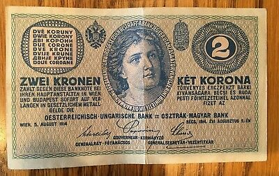 2 ZWEI KRONEN Bank Note  2 KORONA 1914 RARE Excellent!!!