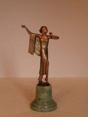 Art Deco Original Spelter Lady Figure In The Style Of Lorenzl