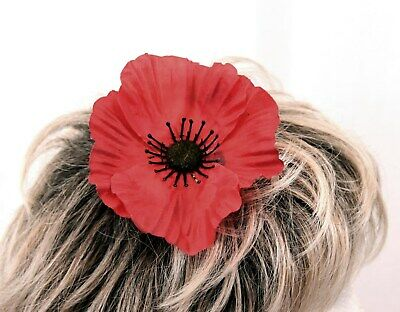 Large Red Poppy fascinator clip fixing all profits to the British Legion