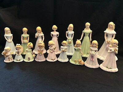 1981 Vintage Enesco Growing Up Girl Blonde Birthday Figurines - Complete Set