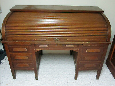 """Antique Oak Rolltop Desk With """"c"""" Roll - All Original, 1 Family Owned"""