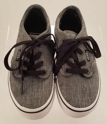 7d6e0853a8 Youth Boys girls Vans Grey Canvas Tennis Sneakers Size Us 11 Uk 10.5 Eur  27.5