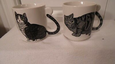 2 Cat Cups/mugs, With The Tail As The Handle, White With 2 Different Cats
