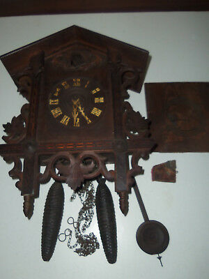 Antique Cuckoo Clock Marked Gk For Parts Or Repair  Made In Germany