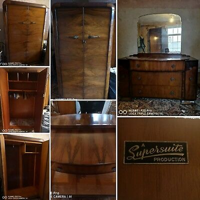 Vintage art deco furniture includes X2 wardrobes and a dressing table