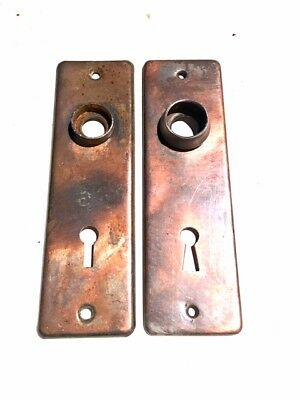 Vintage Set of Matching Door Back Plates Copper Plate