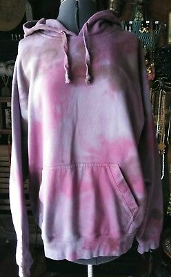 Vintage 90s Custom Tie-Dyed Purple Hoodie Sweatshirt Gear Cotton L